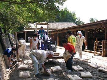 シラスセメントを用いたパドック舗装の試験施工画像